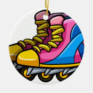 Rollerskates Double-Sided Ceramic Round Christmas Ornament