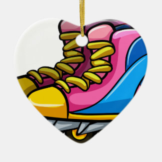 Rollerskates Double-Sided Heart Ceramic Christmas Ornament