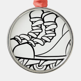 Rollerskates Round Metal Christmas Ornament