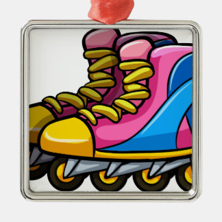 Rollerskates Square Metal Christmas Ornament