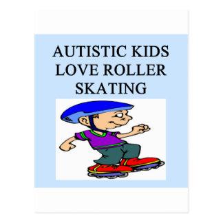 rollerskating autístico del amor de los niños postal