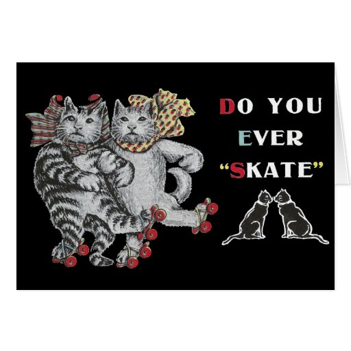 Rollerskating Cats Card