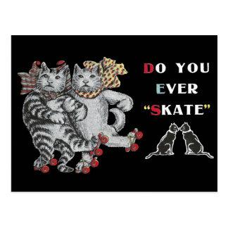 Rollerskating Cats Postcard