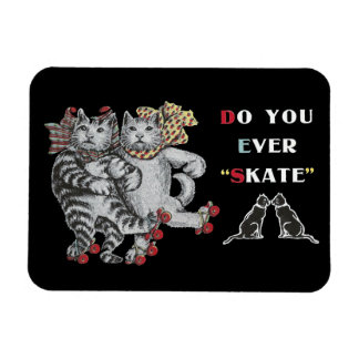 Rollerskating Cats Rectangular Photo Magnet