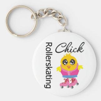 Rollerskating Chick Keychain