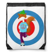 Rollerskating Fox Drawstring Backpack