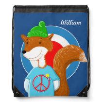Rollerskating Fox Drawstring Bag