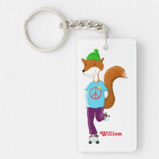 Rollerskating Fox Keychain