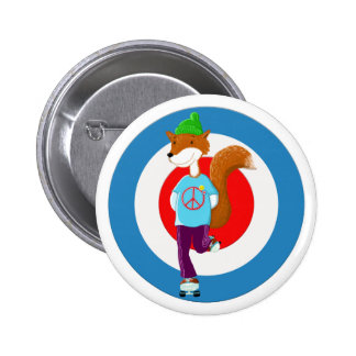 Rollerskating Fox Pinback Button