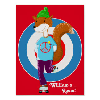 Rollerskating Fox Poster