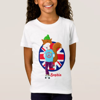 Rollerskating Fox Union Jack Personalised T-Shirt
