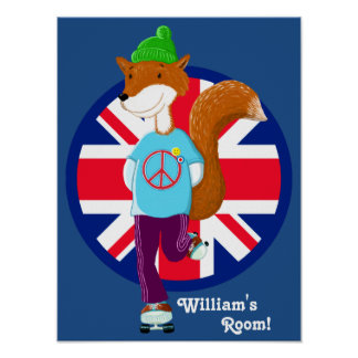 Rollerskating Fox With Union Jack Kids Poster