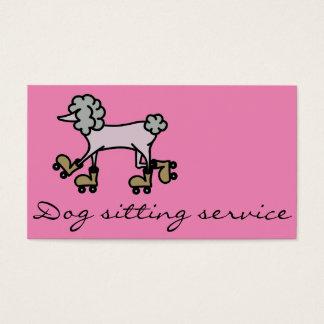 Rollerskating grey poodle dog business card