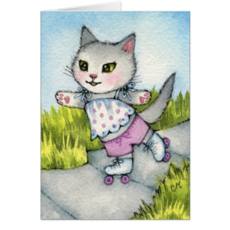 Rollerskating Kitty - Cute cat art Greeting Card