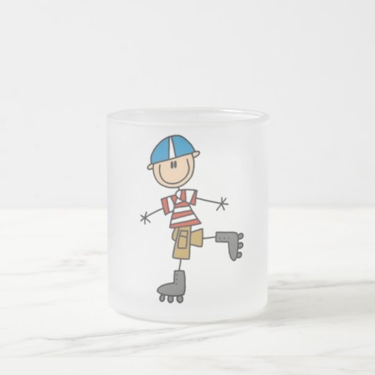 Rollerskating Stick Figure Frosted Glass Coffee Mug