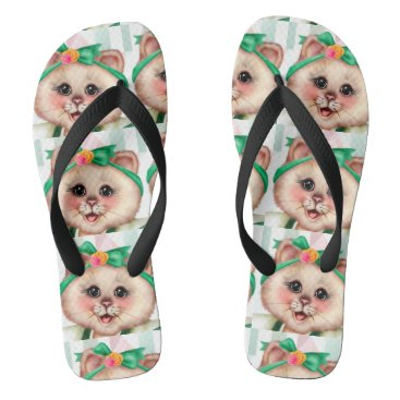 Beach Themed ROLLET CAT CUTE Adult, Wide Straps Flip Flops