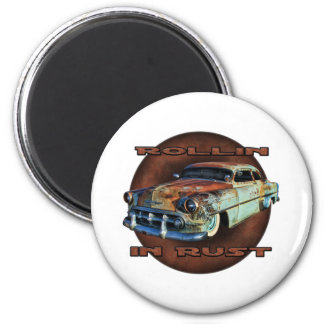 Rollin in rust Tail Dragger Chopped Chevy 2 Inch Round Magnet