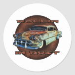 Rollin in rust Tail Dragger Chopped Chevy Classic Round Sticker
