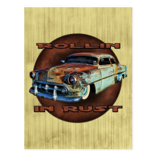Rollin in rust Tail Dragger Chopped Chevy grunge Postcard