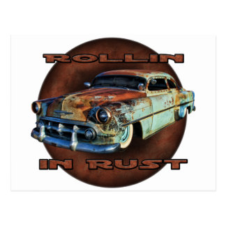 Rollin in rust Tail Dragger Chopped Chevy Post Card