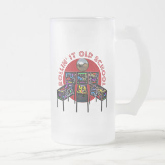 Rollin' It Old School 16 Oz Frosted Glass Beer Mug