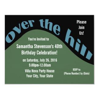 "Rolling Downhill, 40th Birthday 4.25"" X 5.5"" Invitation Card"