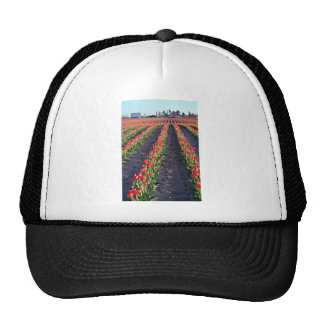 Rolling Field Rows Of Red Tulips flowers Hat