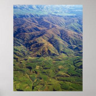 Rolling Hills en la región de Southland de Nueva Z Póster