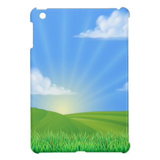 Rolling Hills Field Sun Background iPad Mini Cover