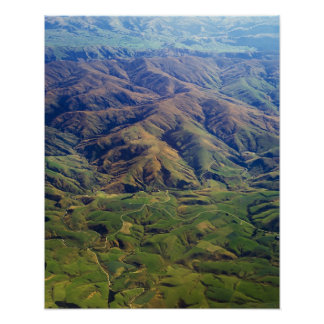 Rolling hills in Southland Region of New Zealand Poster