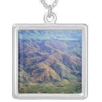 Rolling hills in Southland Region of New Zealand Silver Plated Necklace