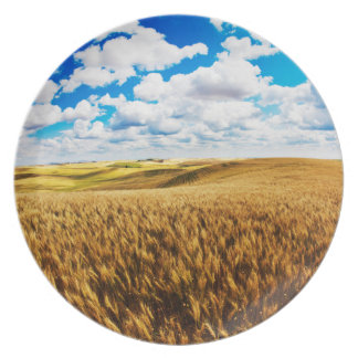 Rolling hills of ripe wheat dinner plate