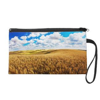 Rolling hills of ripe wheat wristlet purse