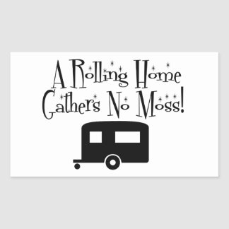 Rolling Home Gathers No Moss Rectangular Sticker
