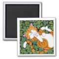 Rolling in Clover - Cat Art Magnet