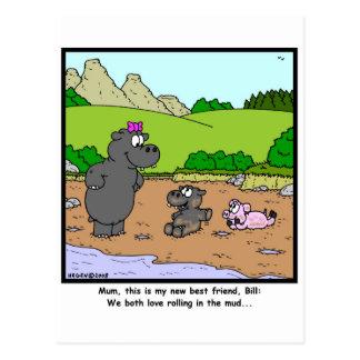 Rolling in mud postcard