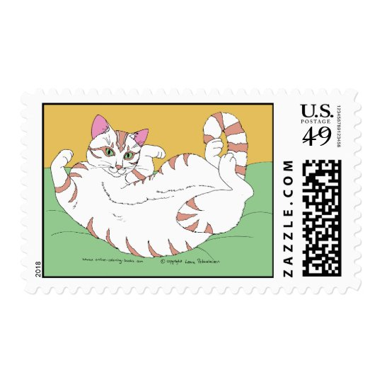 Rolling Kitty On Green Postage