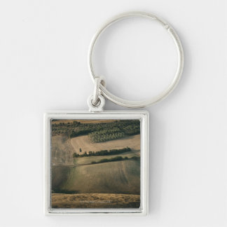 Rolling landscape, Pienza, Tuscany, Italy Silver-Colored Square Keychain