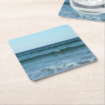 Rolling Ocean Waves Square Paper Coaster
