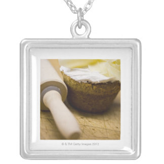 Rolling pin by muffin silver plated necklace
