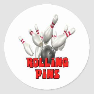 Rolling Pins Bowling Classic Round Sticker