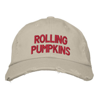 """Rolling Pumpkins"" Distressed Chino Twill Cap Baseball Cap"