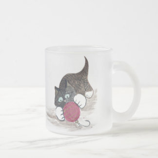 Rolling, Rolling Red Ornament & Kitty Frosted Glass Coffee Mug