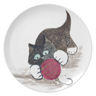 Rolling, Rolling Red Ornament & Kitty Melamine Plate