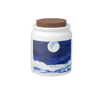 Rolling Sea Waves Under A Full Moon Ocean Candy Dishes