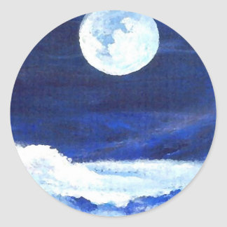 Rolling Sea Waves Under A Full Moon Ocean Classic Round Sticker