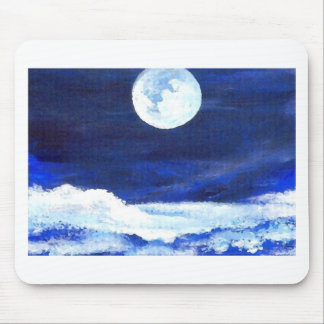 Rolling Sea Waves Under A Full Moon Ocean Mouse Pad