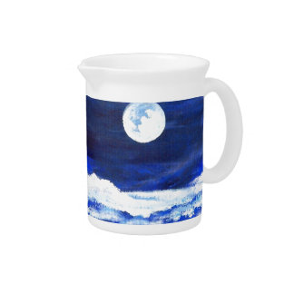 Rolling Sea Waves Under A Full Moon Ocean Beverage Pitchers