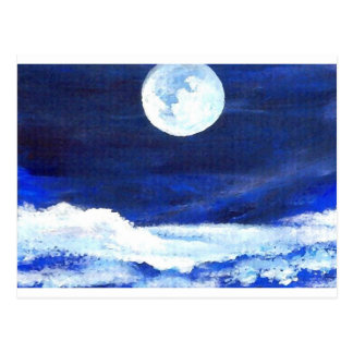 Rolling Sea Waves Under A Full Moon Ocean Postcard