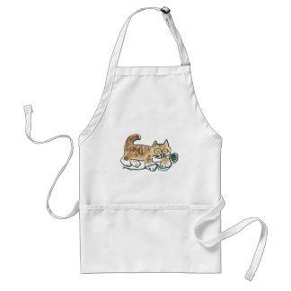 Rolling the Green Yarn Ball by Tiger Kitty Adult Apron